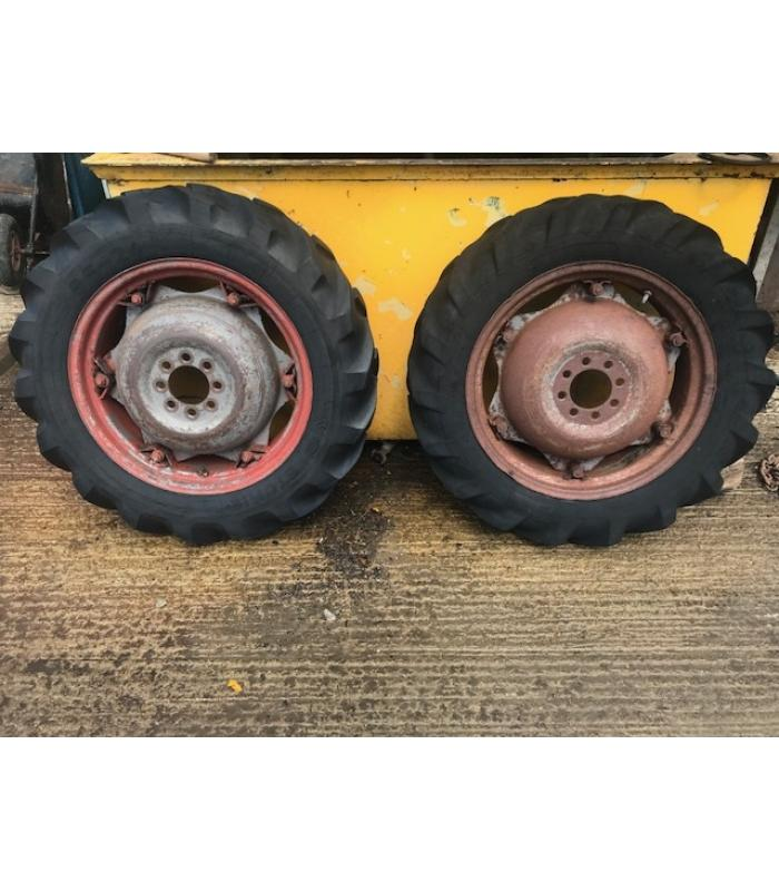 Pair of 9.5-24 MF Rear Tractor Wheels and Tyres